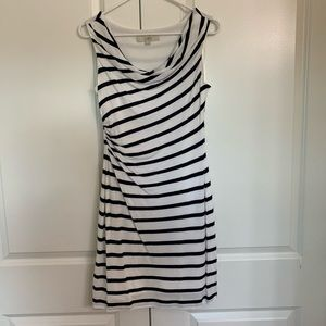 LOFT cowl neck/side ruched striped dress